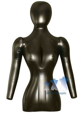 Inflatable Mannequin Female Torso Whead Arms Black