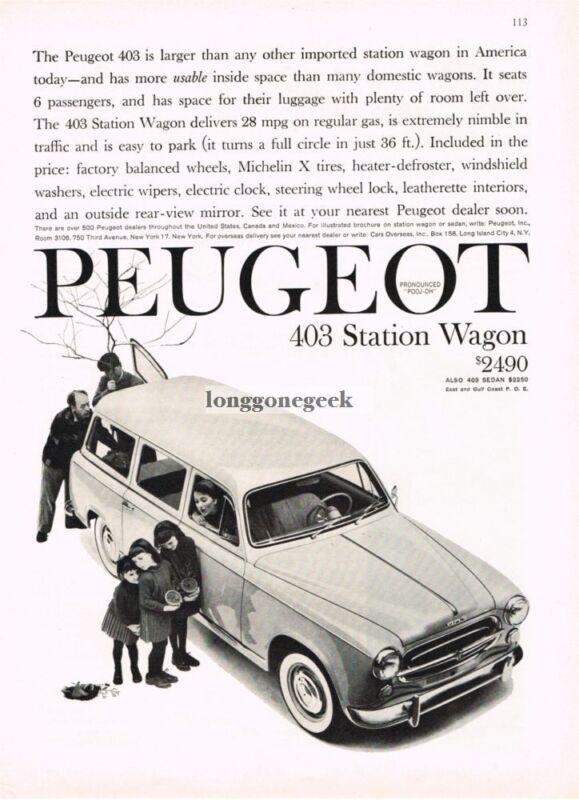 1960 PEUGEOT 403 Station Wagon Vintage Print Ad