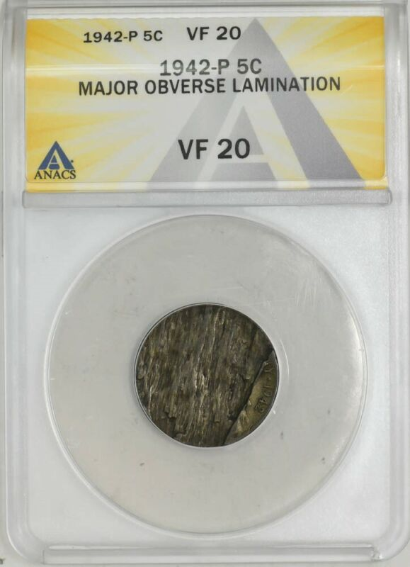 1942-P Jefferson Nickel 5c Mint Error Major Obverse Lamination VF20 ANACS
