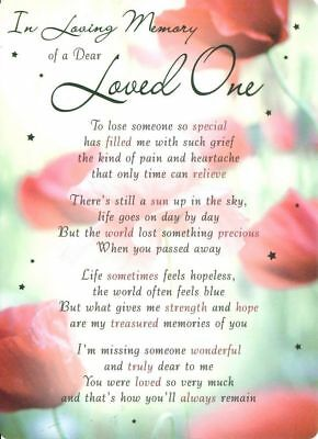 💔Grave Card IN LOVING MEMORY OF A DEAR LOVED ONE Verse Memorial Funeral