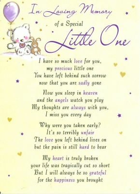 💔Grave Card IN LOVING MEMORY OF A SPECIAL LITTLE ONE💔Verse Memorial