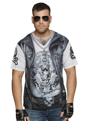 Fotorealistisches T-Shirt Biker Herren-Kostüm Junggesellenabschied Rocker JGA