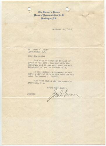 1932 John Nance Garner Typed Letter Signed