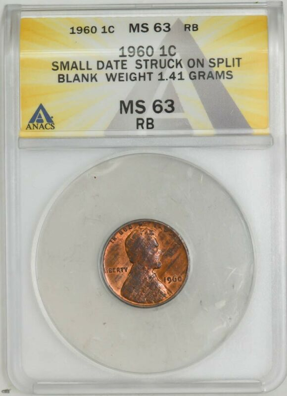 1960 Lincoln Cent 1c Sm Date Struck on Split Blank 1.41g MS63RB ANACS 943057-16