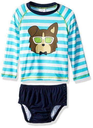 NWT Infant Boys KIKO & MAX Striped 2 Pc Rashguard Swim Diaper Set L 21-35 lbs.
