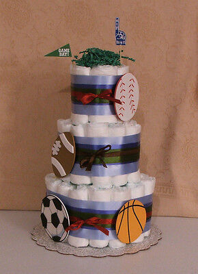 Tier Diaper Cake Allstar Sports Theme  Baby Shower Centerpiece Bow Wow Just Born