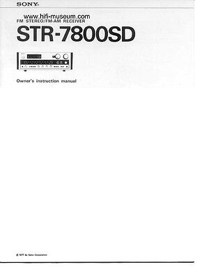 Sony STR-7800SD Amplifier / Receiver Owners Instruction Manual