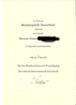 Frühe Bundeswehr - Ernennungsurkunde zum Berufssoldaten 1962 Luftwaffe