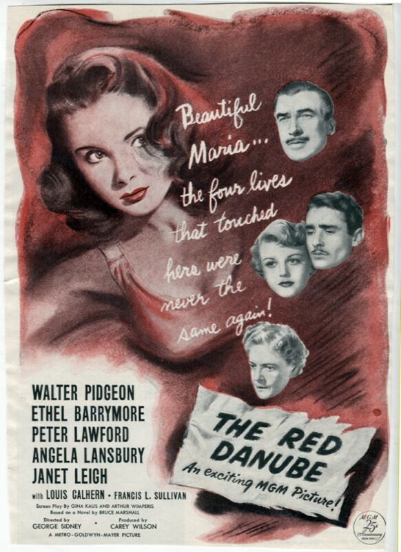 The Red Danube 1949 Walter Pidgeon Barrymore Janet Leigh Movie Ad Magazine VTG