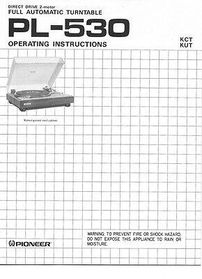 Pioneer PL-530 Turntable Owners Manual