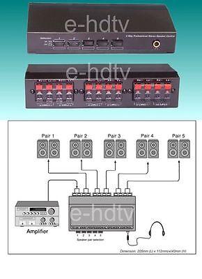 NEW 5 Speaker Selector Switch Switcher (Speaker Splitter)