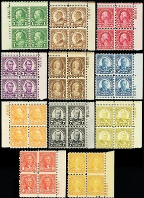 632//42, Set of 11 F-VF NH/LH Plate Blocks Cat $268.75 - Stuart Katz