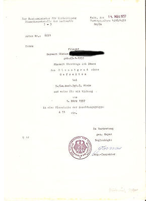 Frühe Bundeswehr - Ernennungsurkunde zum Gefreiten 1957 Luftwaffe
