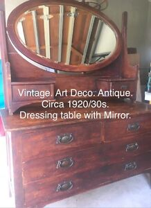 Art Deco antique dressing table with mirror Beaumaris Bayside Area Preview