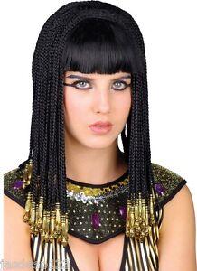 Cleopatra Egyptian Wig Ladies Women Queen Fancy Dress Black Gold Braided Hair Wk