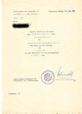 Frühe Bundeswehr - Ernennungsurkunde zum Stabsunteroffizier 1960 Luftwaffe