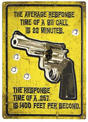 """Average Response Time"" Metal GUN Sign ManCave Humor indoor/outdoor 17""x12"""