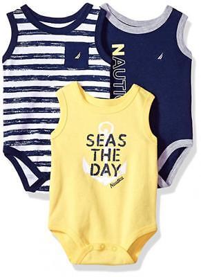 Nautica Infant Boys 3pc Sleeveless Bodysuits Blue & Yellow Size 0/3M 3/6M 6/9M