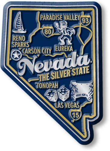 Nevada the Silver State Premium Map Fridge Magnet
