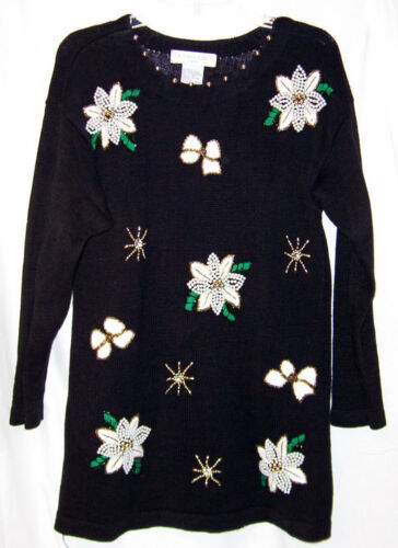 Sweater PM P M Black Beads White Poinsettia VICTORIA JONES Bows Ugly CHRISTMAS