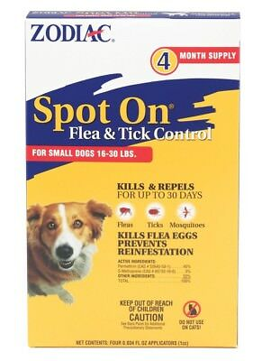 Zodiac Spot On Flea & Tick Control for Dogs 16-30lb 4pk   (free Shipping)