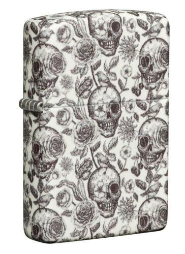 Zippo Glow in the Dark Skull & Rose Lighter, Floral Skeleton, 49458, New In Box
