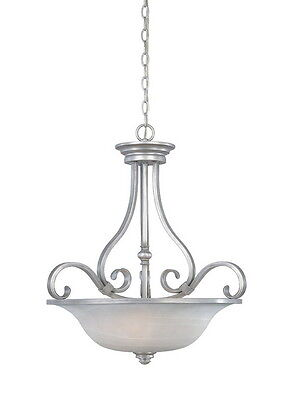 Matte Pewter with Alabaster Glass Chandelier/Pendant 23.25