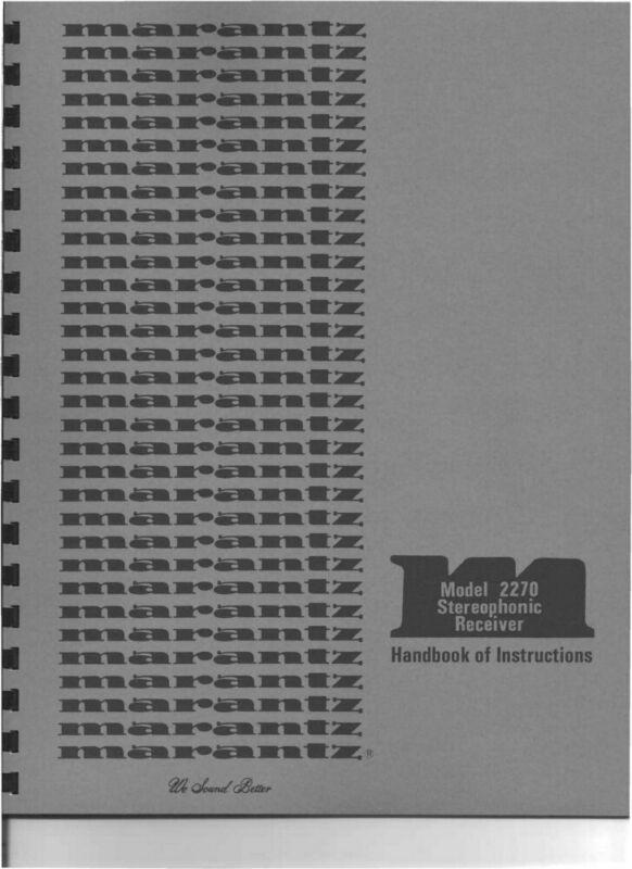 Marantz 2270 Receiver Owners Manual
