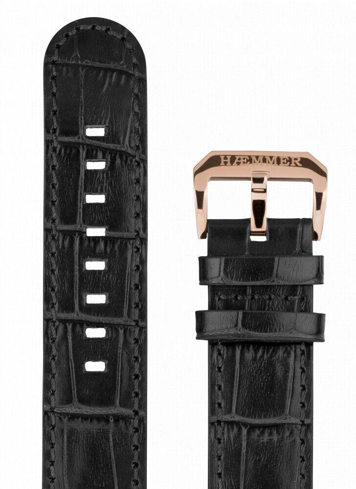 Haemmer Ersatzband Noblica - Lederband schwarz - 22 mm
