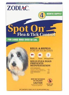 Zodiac Spot On Flea & Tick Control for Large Dogs Over 60lb 4pk Kills & Repels