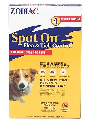 Zodiac Spot On,for small dogs 16-30 lbs, flea and tick control, 4 pack