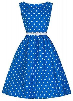 50er Jahre Rockabilly Kleid Zoe Blau/Weiß Vintage 50s Retro Polka Dots Petticoat ()