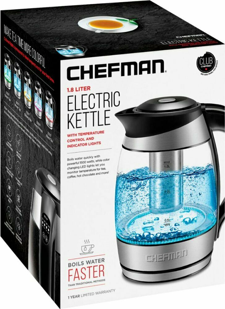Chefman Electric Cordless Glass Kettle with Tea Infuser & LE