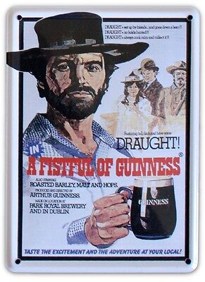 GUINNESS A FISTFUL Small Vintage Metal Tin Pub Sign