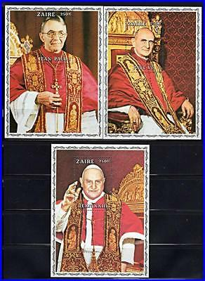 ZAIRE/DR CONGO 1979 3  POPES S/S MNH CV$15.00 RELIGION, COSTUMES](Famous People Costumes)