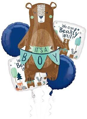 Bear Baby Shower Balloon Bouquet, Mylar Balloon, Woodland, Forest Animals, Boy Baby Boy Balloon Bouquet
