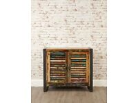 Java Rustic Industrial Two Door Small Sideboard - Brand New