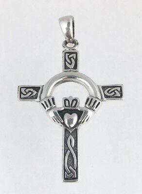 Celtic Claddagh Claddaugh Irish Cross Pendant Charm w Classic Knotwork