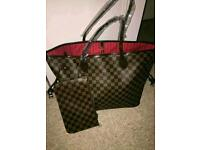 Louis Vuitton Neverfull Bag Handbag (Free Matching Clutch)