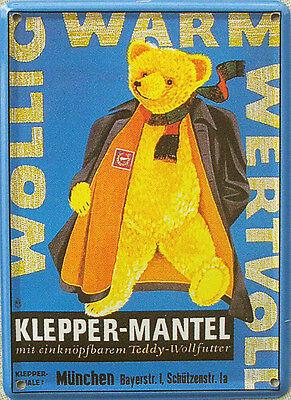 Mini-Blechschild Klepper-Mantel - Teddy, 8 x 11 cm