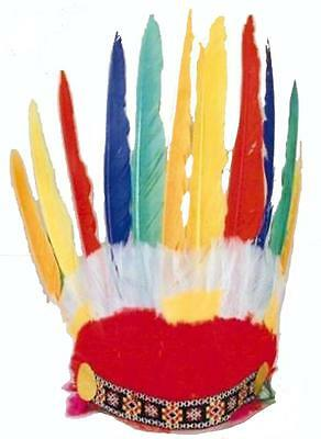 2 INDIAN CHEIF STYLE FEATHER HEAD DRESS BONNET dressup hat kids adult costume (Cheif Hat)