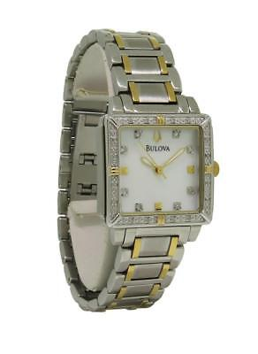Bulova Diamond 98R112 Women's Square Mother of Pearl Analog Stainless Watch