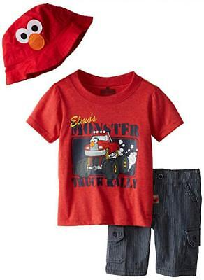 Sesame Street Toddler Boys Elmo Red Top 3pc Short Size 2T 3T 4T $36