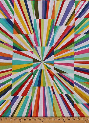 "24.5"" X 44"" Panel Geometric Rays Kaleidoscope Cotton Fabric Panel D505.31"