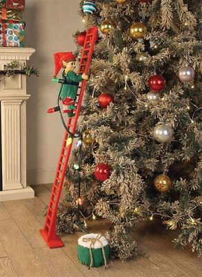 ANIMATED PRELIT MUSICAL ELF CLIMBING LADDER CHRISTMAS TREE Decoration LIGHTED