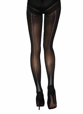 Jonathan Aston Opaque Seam Tights. 50D. 1 Pair. Black-Grey Jonathan Aston Opaque Tights