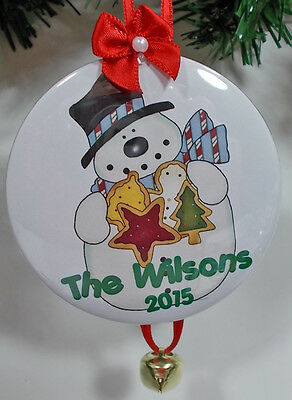 6 Habit PERSONALIZED CHRISTMAS ORNAMENTS SNOWMAN & COOKIES  YOUR NAME & YEAR