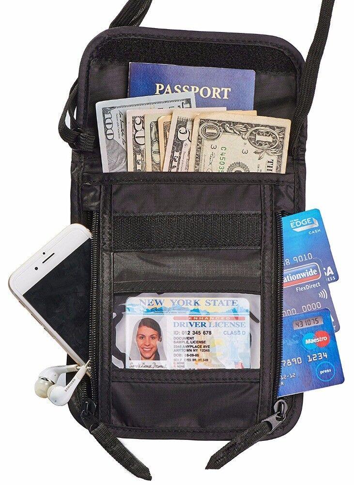 Brustbeutel Brusttasche Reisepasshülle mit RFID-Blocker für Damen und Herren