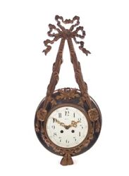 French Gilt Bronze And Tole Case Ribbons & Bows Cartel Wall Clock 1890