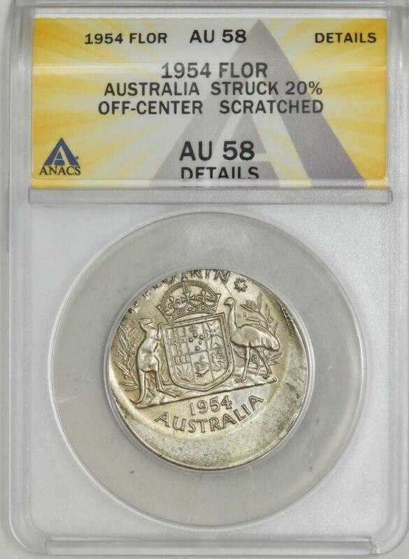1954 Australia Florin Mint Error Struck 20% Off Center AU58 Details ANACS